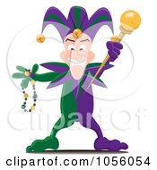 Royalty Free Vector Clip Art Illustration Of A Mardi Gras Jester Holding A Wand And Beads by Pams Clipart