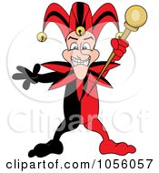 Royalty Free Vector Clip Art Illustration Of A Red And Black Mardi Gras Jester Holding A Staff
