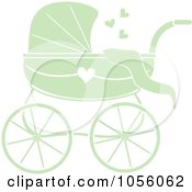 Green Baby Carriage Pram With A Heart