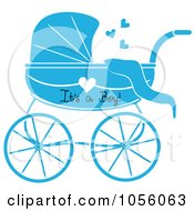 Blue Its A Boy Baby Carriage Pram With A Heart