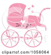 Pink Its A Girl Baby Carriage Pram With A Heart