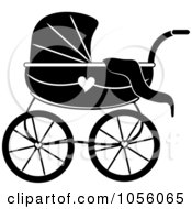 Black And White Baby Carriage Pram With A Heart