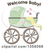 Green Baby Carriage Pram With Welcome Baby Text