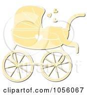 Yellow Baby Carriage Pram With A Heart