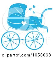 Blue Baby Carriage Pram With A Heart