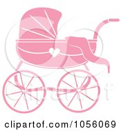 Royalty Free Vector Clip Art Illustration Of A Pink Baby Carriage Pram With A Heart