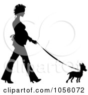 Royalty Free Vector Clip Art Illustration Of A Black Silhouetted Pregnant Woman Walking A Chihuahua Dog by Pams Clipart