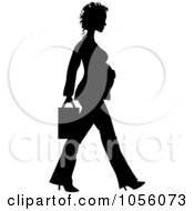 Black Silhouetted Pregnant Business Woman Walking