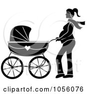 Royalty Free Vector Clip Art Illustration Of A Black Silhouetted Pregnant Woman Walking With A Pram