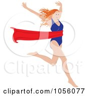 Royalty Free Vector Clip Art Illustration Of A Red Haired Woman Breaking Through A Red Ribbon
