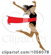 Royalty Free Vector Clip Art Illustration Of A Black Woman Breaking Through A Red Ribbon