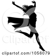 Royalty Free Vector Clip Art Illustration Of A Silhouetted Woman Breaking Through A Red Ribbon