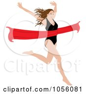 Brunette Woman Breaking Through A Red Ribbon
