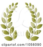Royalty Free Vector Clip Art Illustration Of A Green Greek Wreath Of Olive Branches by Pams Clipart