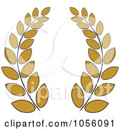 Royalty Free Vector Clip Art Illustration Of A Dark Yellow Greek Wreath Of Olive Branches