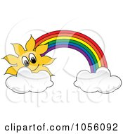 Royalty Free Vector Clip Art Illustration Of A Sun And Rainbow With Clouds