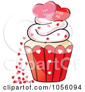 Royalty Free Vector Clip Art Illustration Of Love You And Kiss Me Hearts On Top Of A Valentines Day Cupcake