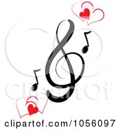 Royalty Free Vector Clip Art Illustration Of A Music Clef And Hearts