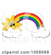 Royalty Free Vector Clip Art Illustration Of A Sun And Rainbow With Two Clouds