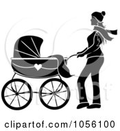 Black Silhouetted Woman Walking With A Baby Carriage