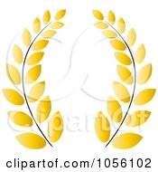 Royalty Free Vector Clip Art Illustration Of A Yellow Greek Wreath Of Olive Branches