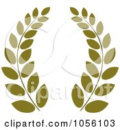 Royalty Free Vector Clip Art Illustration Of A Dark Green Greek Wreath Of Olive Branches by Pams Clipart