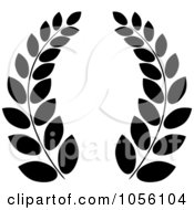 Royalty Free Vector Clip Art Illustration Of A Black And White Greek Wreath Of Olive Branches by Pams Clipart
