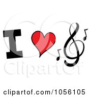 Royalty Free Vector Clip Art Illustration Of I Heart Music