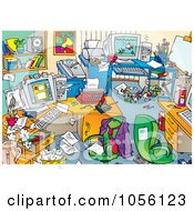 Royalty Free Clip Art Illustration Of A Very Messy Mens Office With Clutter On The Desks And Floors by Alex Bannykh #COLLC1056123-0056