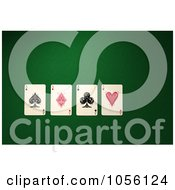 Royalty Free CGI Clip Art Illustration Of 3d Four Ace Cards On Felt by stockillustrations