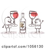 Royalty Free Vector Clip Art Illustration Of A Stick Couple Toasting With Red Wine by NL shop
