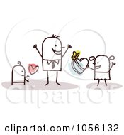 Royalty Free Vector Clip Art Illustration Of Stick Children Giving A Box Of Candies To Their Dad On Fathers Day
