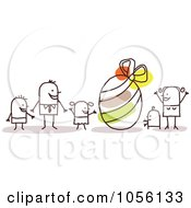 Royalty Free Vector Clip Art Illustration Of A Stick Family With A Giant Easter Egg