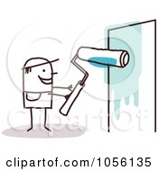 Royalty Free Vector Clip Art Illustration Of A Stick Man Painting A Wall Blue