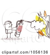 Royalty Free Vector Clip Art Illustration Of A Stick Man Fire Fighter Extinguishing Flames by NL shop