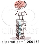 Royalty Free Vector Clip Art Illustration Of A Stick Man With A Huge Brain Standing On Books by NL shop