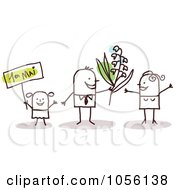 Royalty Free Vector Clip Art Illustration Of A Stick Girl And Man Giving Flowers To A Woman On Mothers Day