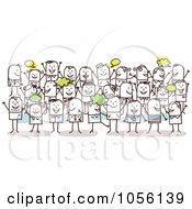 Royalty Free Vector Clip Art Illustration Of A Happy Crowd Of Stick People by NL shop #COLLC1056139-0109