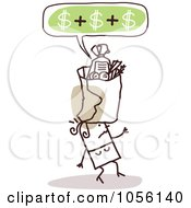 Royalty Free Vector Clip Art Illustration Of An Expensive Bag Of Groceries Falling On A Womans Head