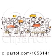 Royalty Free Vector Clip Art Illustration Of A Crowd Of Protesting Stick People