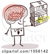 Royalty Free Vector Clip Art Illustration Of A Stick Man With A Huge Brain Holding Books by NL shop