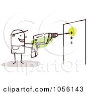 Royalty Free Vector Clip Art Illustration Of A Stick Man Drilling Holes In A Wall