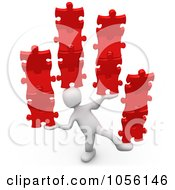 Poster, Art Print Of 3d White Person Balancing Puzzle Pieces