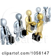 Royalty Free CGI Clip Art Illustration Of 3d Gold Business Men Shaking Hands In A Line Of Silver Men by 3poD