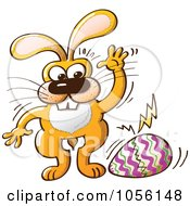 Royalty-Free Vector Clip Art Illustration of a Yellow Bunny Cracking And Laying An Easter Egg by Zooco