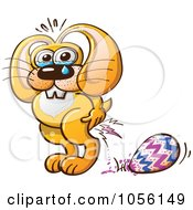 Royalty Free Vector Clip Art Illustration Of A Yellow Bunny Crying And Laying An Easter Egg by Zooco