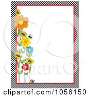 Royalty Free Vector Clip Art Illustration Of A Bee With Spring Flowers And A Snail With A Checkered Border And Copyspace