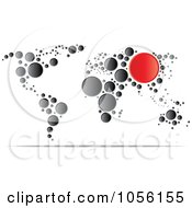 Royalty Free Vector Clip Art Illustration Of A World Map Of Black And Red Dots by Andrei Marincas