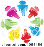 Royalty Free Vector Clip Art Illustration Of A Circle Of Colorful Diverse People by Andrei Marincas #COLLC1056156-0167