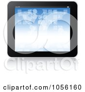 Royalty Free Vector Clip Art Illustration Of A Black Tablet With A Blue Atlas by Andrei Marincas